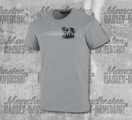 Harley-Davidson® Men's Grey Horizontal Engine Short Sleeve Tee 99003-19VM