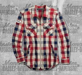 Harley-Davidson® Men's No. 1 Plaid Zippered Slim Fit Long Sleeve Shirt 99194-19VM