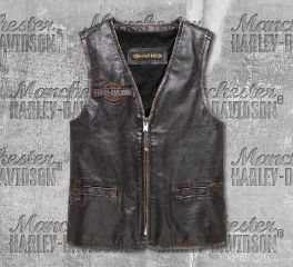 Harley-Davidson® Men's Eagle Distressed Slim Fit Leather Vest 98078-19VM