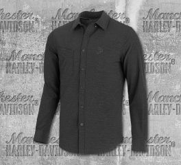Harley-Davidson® Men's Double Weave Stretch Slim Fit Long Sleeve Shirt 99192-19VM