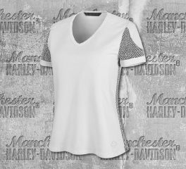 Harley-Davidson® Women's 3D Mesh Accent Short Sleeve Tee 99005-19VW