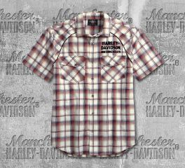 Harley-Davidson® Men's Upright Eagle Plaid Short Sleeve Shirt 99266-19VM