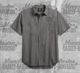 Harley-Davidson® Men's Winged Logo Textured Woven Shirt 99154-19VM