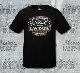 Harley-Davidson® Men's Black Name Rock Short Sleeve Tee, RK Stratman Inc. R003114