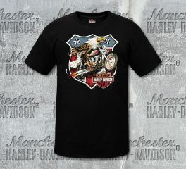 Harley-Davidson® Men's Black Eagle Short Sleeve Tee, RK Stratman Inc. R003121