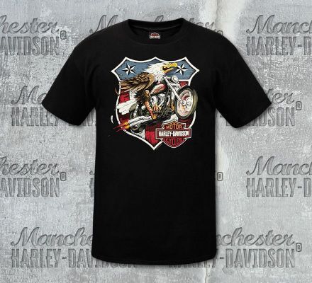 Harley-Davidson® Men's Black Eagle Short Sleeve Tee, RK Stratman Inc. R003121