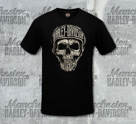 Harley-Davidson® Men's Black Sketch Text Short Sleeve Tee, RK Stratman Inc. R003127