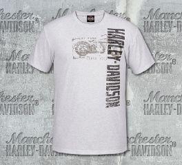 Harley-Davidson® Men's White Vertical Stamp Short Sleeve Tee, RK Stratman Inc. R003154