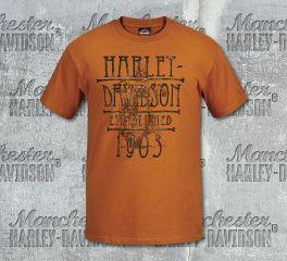 Harley-Davidson® Men's Orange Hill Street Short Sleeve Tee, RK Stratman Inc. R003146