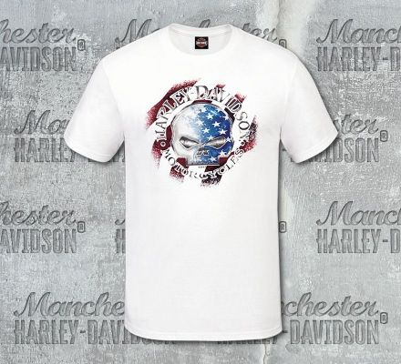 Harley-Davidson® Men's White G Star Short Sleeve Tee, RK Stratman Inc. R003148