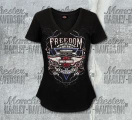 Harley-Davidson® Women's Freedom Rose Short Sleeve Tee, RK Stratman Inc. R003198