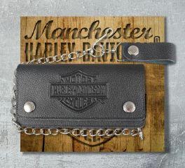 Harley-Davidson® Men's Embossed B&S® Tall Trucker Biker Wallet, Leather Accessory Source XML3508