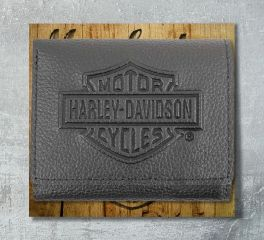 Harley-Davidson® Men's Embossed B&S® Logo Leather Tri-Fold Wallet, Leather Accessory Source XML3571