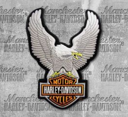 Harley-Davidson® Large Silver Upwing Eagle Patch, Global Products, Inc. EMB328064