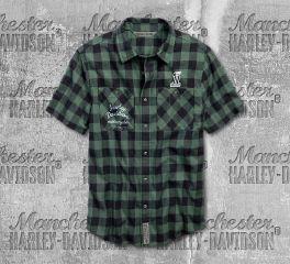 Harley-Davidson® Men's Patch Plaid Short Sleeve Shirt 96636-19VM
