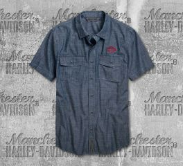 Harley-Davidson® Men's Embroidered Chambray Short Sleeve Shirt 96751-19VM