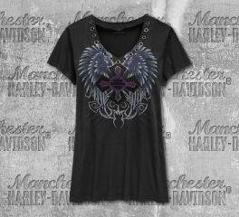 Harley-Davidson® Women's Winged Cross Fashion Short Sleeve Tee 96823-19VW