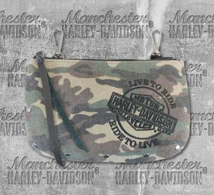 Harley-Davidson® Women's Camo Canvas Hip Bag with Strap, Leather Accessory Source WC1339S