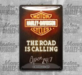 Harley-Davidson® Open 24/7 Tin Sign, Nostalgic Art 22294
