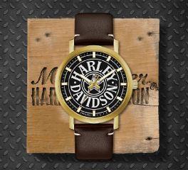 Harley-Davidson® Men's Iconic Fat Boy Gold-Tone Stainless Steel Watch, Bulova UK Ltd. 77A100