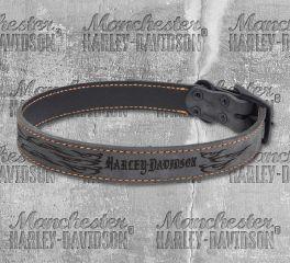 Harley-Davidson® Lasered Flame Rustic Leather Dog Collar NU-H3118L-HLF22