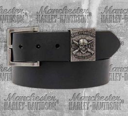 Harley-Davidson® Men's No Free Ride Skull Leather Belt HDMBT10839
