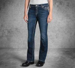 Harley-Davidson® Curvy Boot Cut Embellished Pocket Mid-Rise Jeans 99052-18VW