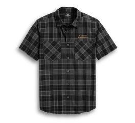 Harley-Davidson® Flaming Skull Patch Plaid Shirt 96019-20VM