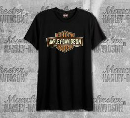 Harley-Davidson® Men's Black Long Logo Short Sleeve Tee, RK Stratman Inc. R002315