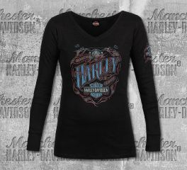 Harley-Davidson® Women's Black Ride Shield Long Sleeve Tee, RK Stratman Inc. R003366