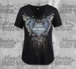 Harley-Davidson® Women's Black Prosperous Short Sleeve Tee, RK Stratman Inc. R003297
