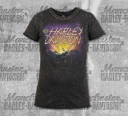 Harley-Davidson® Women's Black Dusk Name Short Sleeve Tee, RK Stratman Inc. R003290