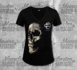 Harley-Davidson® Women's Black Sequences Short Sleeve Tee, RK Stratman Inc. R003296