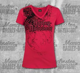 Harley-Davidson® Women's Red Occasion Short Sleeve Tee, RK Stratman Inc. R003364