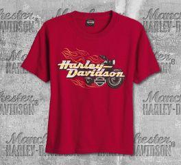 Harley-Davidson® Boys Red Bike Blaze Short Sleeve Tee, RK Stratman Inc. R002674