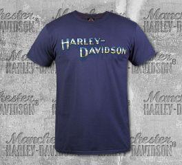 Harley-Davidson® Men's Vintage Navy H-D® Chrome Short Sleeve Tee, RK Stratman Inc. R003330