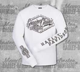 Harley-Davidson® Men's White Cracked Classic Long Sleeve Tee, RK Stratman Inc.