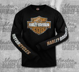 Harley-Davidson® Men's Black Shield Scratched Long Sleeve Tee, RK Stratman Inc. R003348