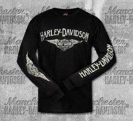 Harley-Davidson® Men's Black Logo Wings Long Sleeve Tee, RK Stratman Inc. R003347