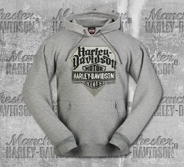 Harley-Davidson® Men's Grey Cracked Plate Pullover, RK Stratman Inc. R003283