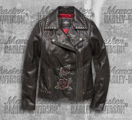 Harley-Davidson® Women's Black Roses & Studs Leather Jacket 97010-20VW