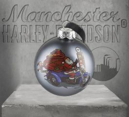 Harley-Davidson® Winter 2019 Biker Santa Ball Glass Ornament HDX-99156