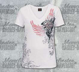 Harley-Davidson® Women's White Coral Whisper Short Sleeve Tee, RK Stratman Inc. R003499