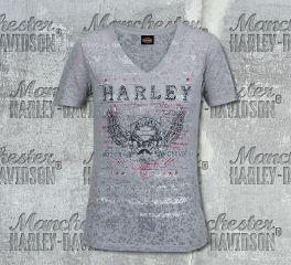 Harley-Davidson® Women's Grey Striped Label Short Sleeve Tee, RK Stratman Inc. R003501