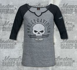 Harley-Davidson® Women's Grey Round Stripes 3/4 Sleeve Tee, RK Stratman Inc. R003620