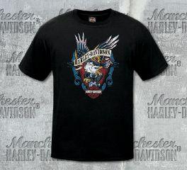 Harley-Davidson® Men's Black Old School Eagle Short Sleeve Tee, RK Stratman Inc. R003462