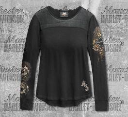 Harley-Davidson® Women's Black Skull & Roses Long Sleeve Tee 96321-20VW