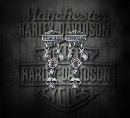 Harley-Davidson® Women's Skull & Rose Garnet Sterling Silver Earrings, Silver Studio Co. Ltd. HDE021