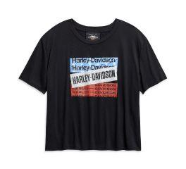 Harley-Davidson® H-D Bars & Stars Flowy Cropped Tee 96512-20VW