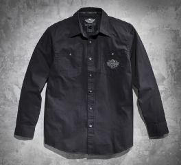 Men's Tonal Flames Long-Sleeve Shirt